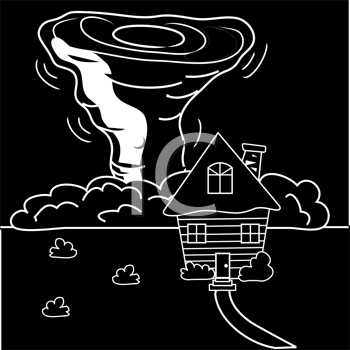 Royalty Free Clipart Image of a Tornado Coming Towards a House