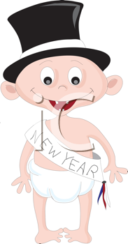 Royalty Free Clipart Image of a New Year Baby