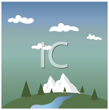 Royalty Free Clipart Image of a Landscape With a Snowy Mountain