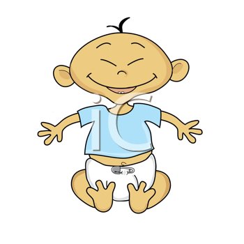Royalty Free Clipart Image of a Smiling Baby