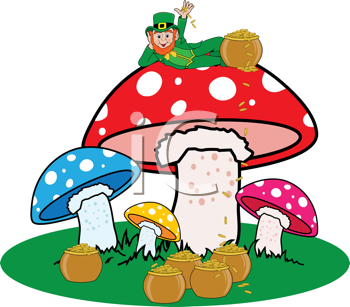 Royalty Free Clipart Image of a Leprechaun on Mushrooms