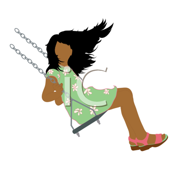 Royalty Free Clipart Image of a Little Girl Swinging