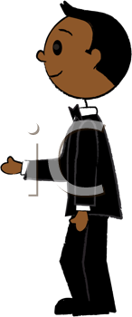 Royalty Free Clipart Image of a Stick Groom