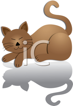 Royalty Free Clipart Image of a Cartoon Cat Sleeping