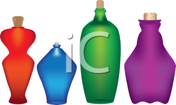 Royalty Free Clipart Image of Colored Bottled