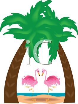 Royalty Free Clipart Image of Flamingos Under Palm Trees