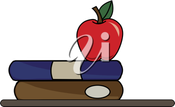 Clip art illustration of some school books on a desk or shelf with an apple.