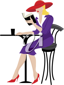 Clip art illustration of a woman, seated at a bistro table, reading a book.