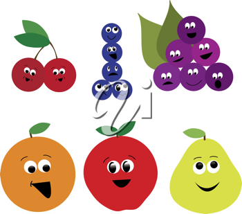 Clip art illustration of a collection of cartoon fruit icons with funny faces.