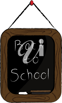 Clip art illustration of a little chalkboard hanging on a string with a Back to School message written on it.