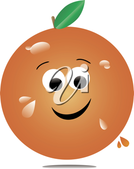 Clip art illustration of a cartoon of a juicy orange with big smile and drips of juice.