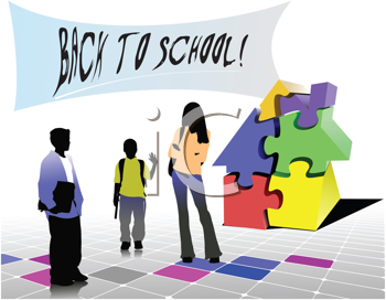 Royalty Free Clipart Image of a Back to School Sign With Three Children and a Jigsaw Puzzle