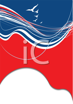 Royalty Free Clipart Image of a Blue, Red and White Border With Birds