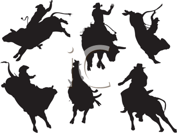 Royalty Free Clipart Image of a Collection of Bull Riders in Silhouette