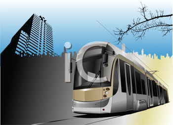 Royalty Free Clipart Image of a Tram in the City