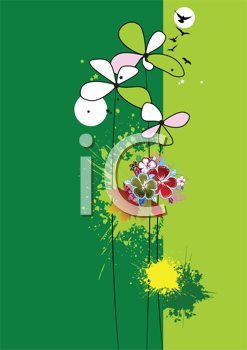 Royalty Free Clipart Image of Flowers on a Green Background