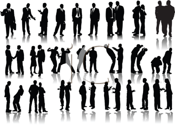 Royalty Free Clipart Image of Forty Businessmen Silhouette