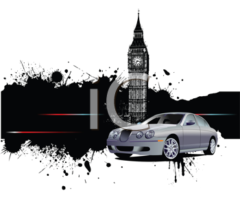 Royalty Free Clipart Image of a Car on a London Background