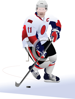 Royalty Free Clipart Image of an Ice Hockey Player