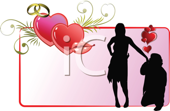 Royalty Free Clipart Image of a Man Kissing a Woman's Hand