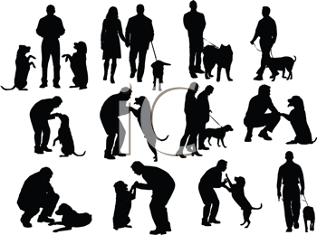 Royalty Free Clipart Image of a Group of Men With Dogs