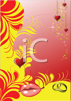 Royalty Free Clipart Image of a Valentine's Day Greeting With Hearts and Lips