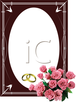 Royalty Free Clipart Image of a Frame With Roses and Wedding Bands