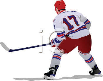 Royalty Free Clipart Image of a Hockey Player From the Back