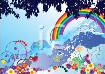 Royalty Free Clipart Image of a Rainbow Background With Flowers and Leaves