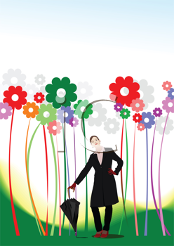 Royalty Free Clipart Image of a Woman With an Umbrella Beside Large Retro Flowers