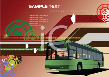 Royalty Free Clipart Image of a Background With a Bus
