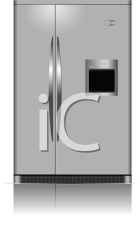 Royalty Free Clipart Image of a Stainless Steel Refrigerator