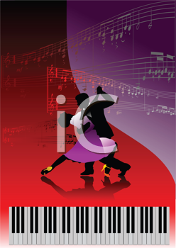 Royalty Free Clipart Image of Couple Dancing With Piano Keys