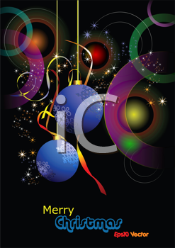 Christmas - New Year shine card with blue balls Eps10 vector