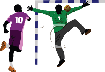 Handball players silhouette. Vector colored illustration