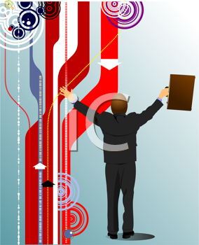 Cover for brochure or template office folder with cute business man. Vector illustration