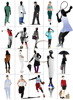 Colored people in action. Silhouettes. Vector illustration