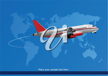 Blue abstract background with passenger plane and world map images. Vector illustration