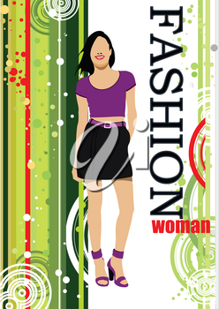 Young woman on green stripped background. Vector illustration