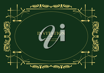Gold ornament on green background. Can be used as invitation card. Vector illustration