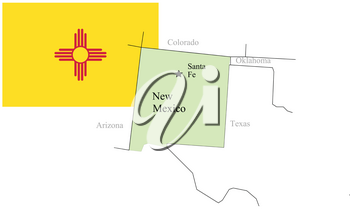 State New Mexico of Usa flag and map, vector illustration