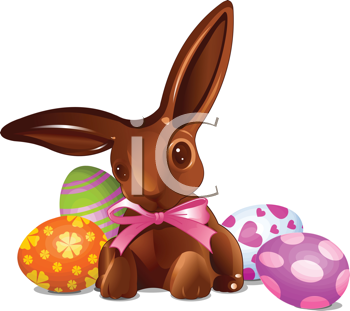 Royalty Free Clipart Image of a Chocolate Easter Bunny With Easter Eggs