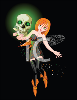 Royalty Free Clipart Image of  a Witch Flying at Holding a Skull