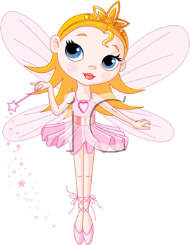 Royalty Free Clipart Image of a Cute Fairy Ballerina With a Magic Wand
