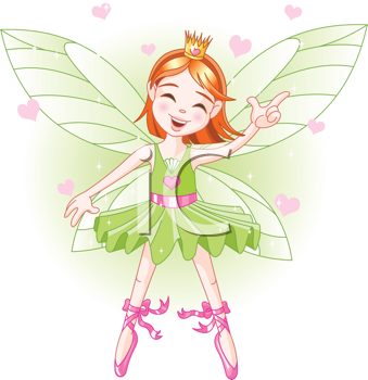 Royalty Free Clipart Image of a Ballerina Fairy Flying