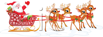 Royalty Free Clipart Image of Santa Claus in His Sleigh Waving