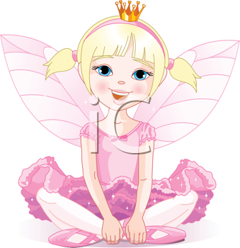 Royalty Free Clipart Image of a Ballerina Fairy Sitting and Smiling