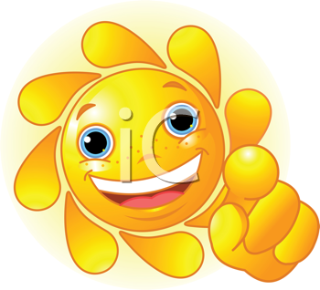 Royalty Free Clipart Image of a Smiling Sun Pointing