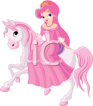 Royalty Free Clipart Image of a Pretty Princess Riding a Pony