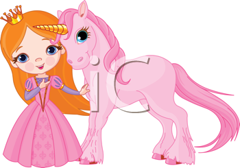 Royalty Free Clipart Image of a Princess and Her Unicorn
